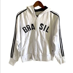 3/$30 Brasil white youth zip up hoodie